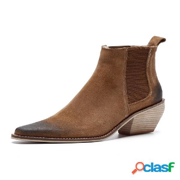 De las mujeres dedo puntiagudo listo para vestir color sólido casual tacón ancho chelsea botas