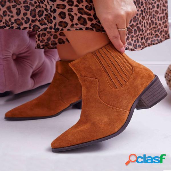 Plus talla mujer suede punta puntiaguda tacones gruesos cremallera chelsea botas