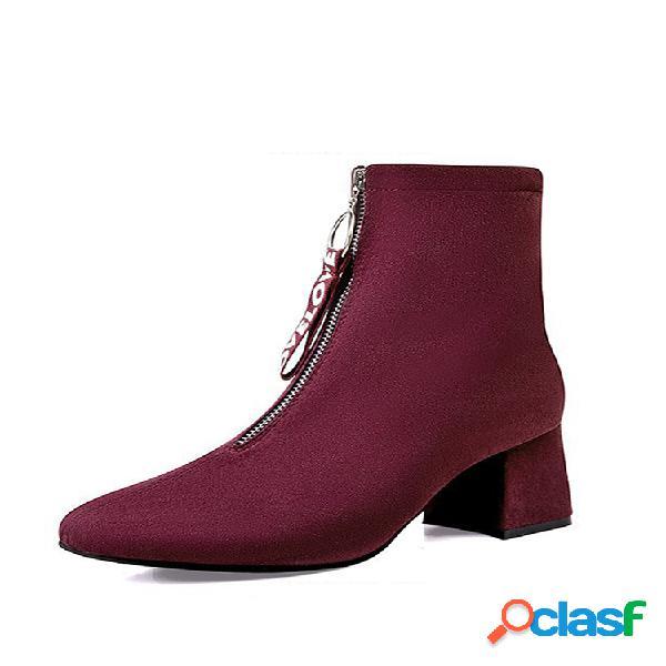 Plus talla mujer forro cálido ante puntera en punta cremallera frontal tacón grueso botas