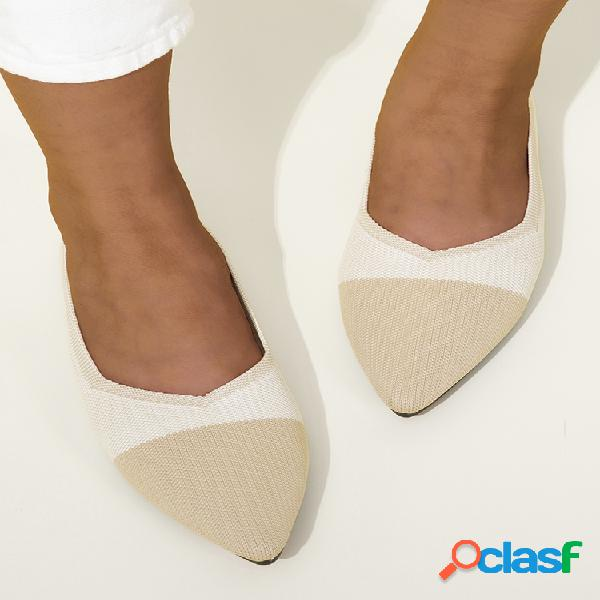 Mujer casual transpirable punta puntiaguda soft sole flats