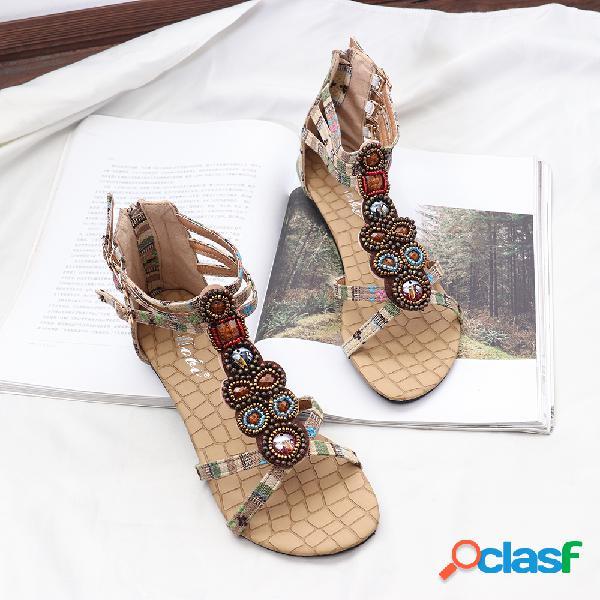Mujer ropa de tres ataduras de metal decoración clip toe zipperpers planos sandalias