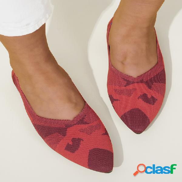 Zapatos planos cómodos con estampado de punto transpirable y puntiagudo para mujer