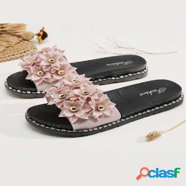Decoración de flores de muchos estilos para mujer soft bottem flats zapatillas