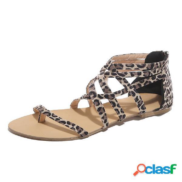 Tallas grandes mujer cremalleras planas con clip en la punta sandalias