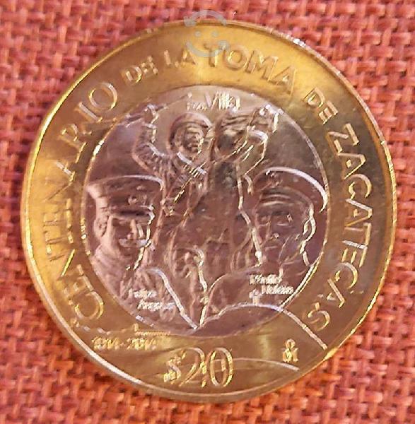 Moneda $20 toma de zacatecas (1919-2019) méxico