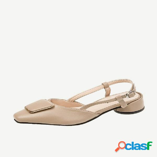 Fairy style sandalias temporada de mujer nueva moda baotou square buckle sandalias zapatos elegantes de mujer de tacón bajo