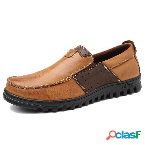 Menico hombres comfy mocasín toe empalme de cuero soft calzado casual