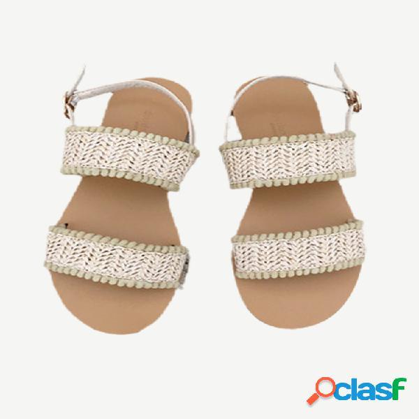 Sandalias hebilla de palabra nueva de fondo plano femenino con retro plano con punta abierta de hada de tejido fresco pequeño mujer sandalias