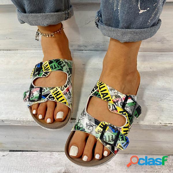 Mujer impresión de hebilla de doble correa con punta abierta informal zapatillas