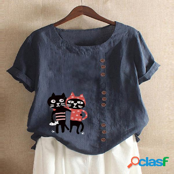 Cartoon gato camiseta informal de manga corta con cuello en o estampada