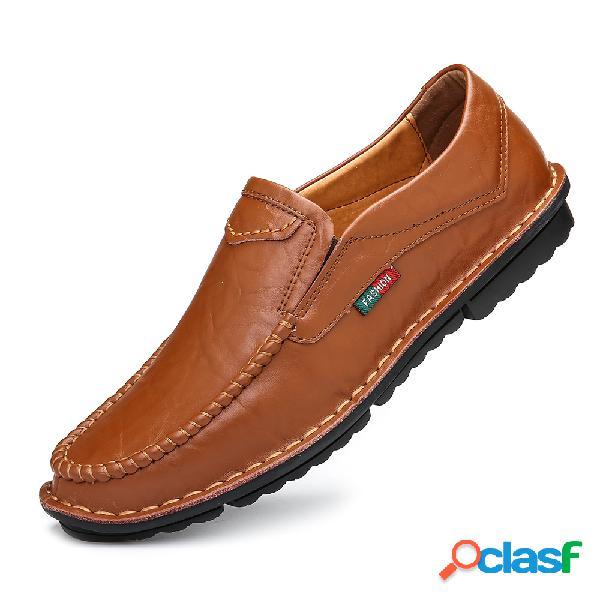 Hombres costura a mano cuero antideslizante soft suela slip on zapatos casuales