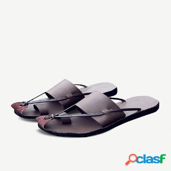 Hombre genuino oil puntera de piel protectora sandalias comfy soft agua zapatillas