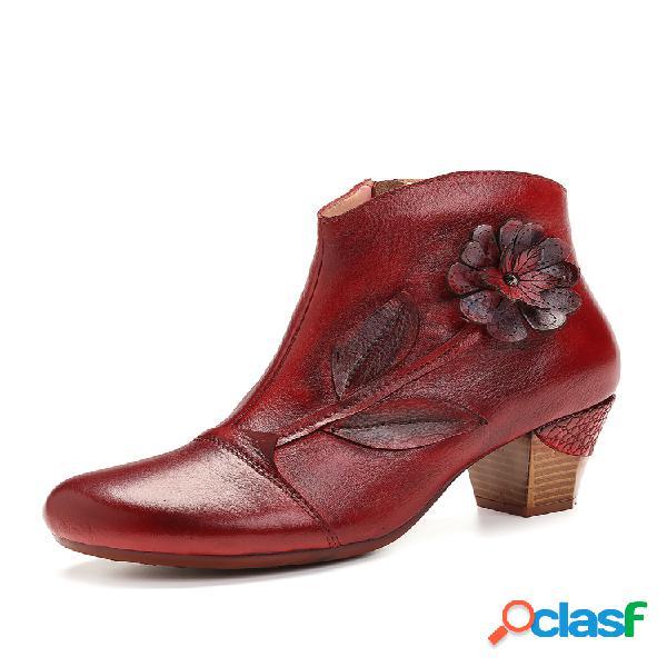 Socofy mujer retro rojo flower piel genuina elegante tacón alto tobillo botas