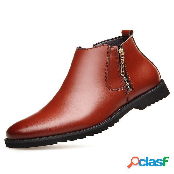 Hombre piel de microfibra cremallera lateral forro cálido business vestido tobillo botas