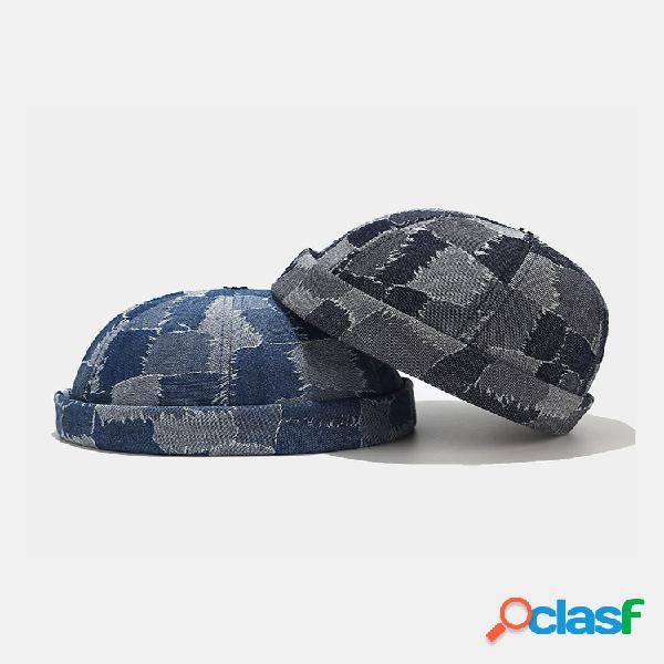 Hombres y mujer tejido de mezclilla con contraste de color patrón casual street trend landlord sombrero sin ala cráneo sombrero gorro