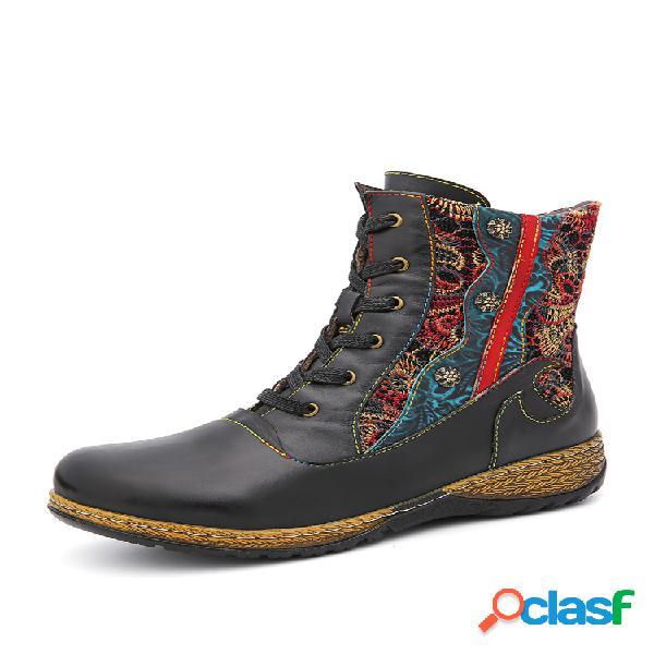 Socofy corto plano con cremallera de cuero de color sólido con empalme floral bordado retro botas