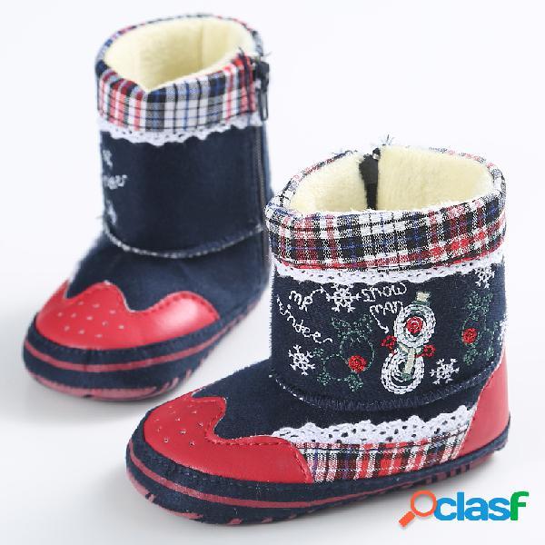 Bordado navideño para niñas bebés soft tela cómoda nieve cálida botas zapatos para niños pequeños
