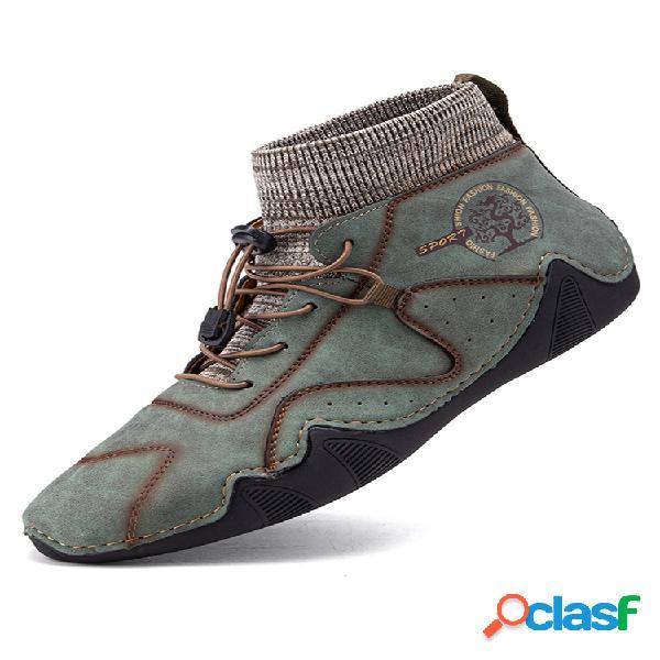 Calcetín de cuero de microfibra hecho a mano para hombre cómodo soft tobillo botas