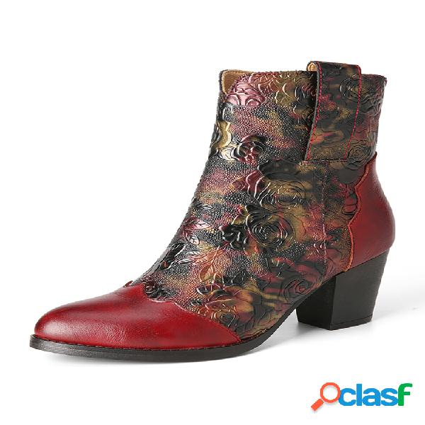 Socofy flores retro en relieve piel genuina cómodo pantalón corto con cremallera lateral y tacón grueso botas