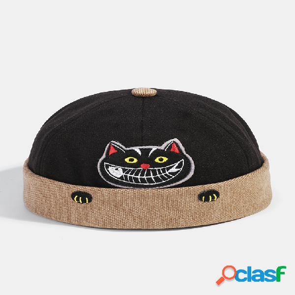 Hombre & mujer divertido gato bordado patrón color de contraste propietario sombrero cráneo gorras