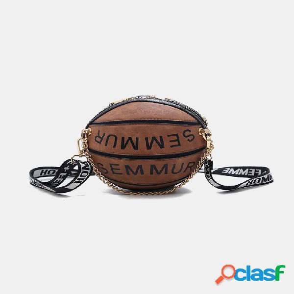 Mujer cadena de baloncesto pequeña redonda bolsa bolso bandolera bolsa cartera bolsa