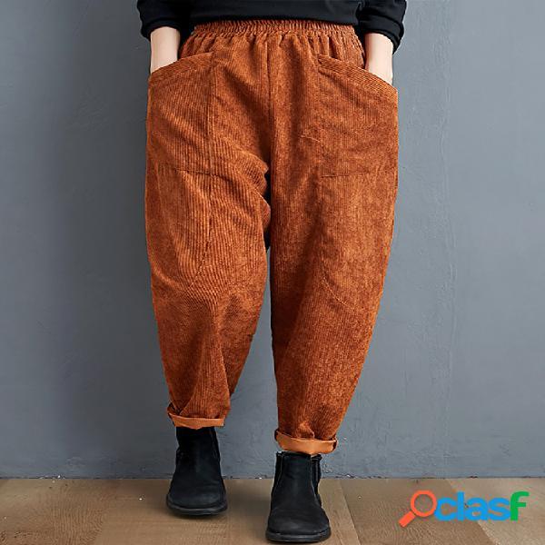 Mujer cintura elástica de pana de color liso pantalones