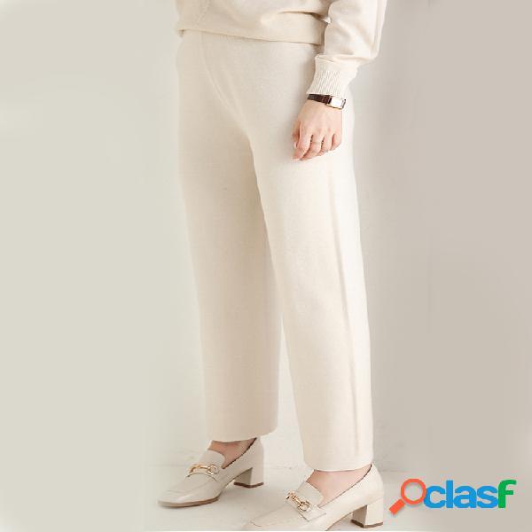 Mujer tejido casual de color liso pantalones