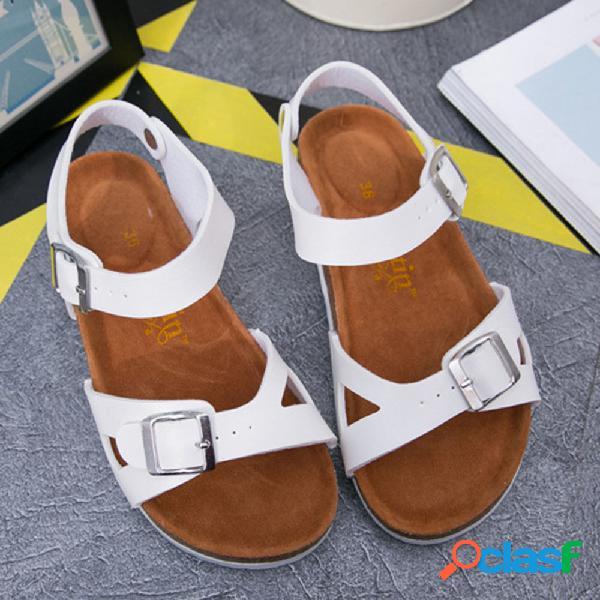 Mujer correa de hebilla hueca cómoda diaria plana soft sandalias