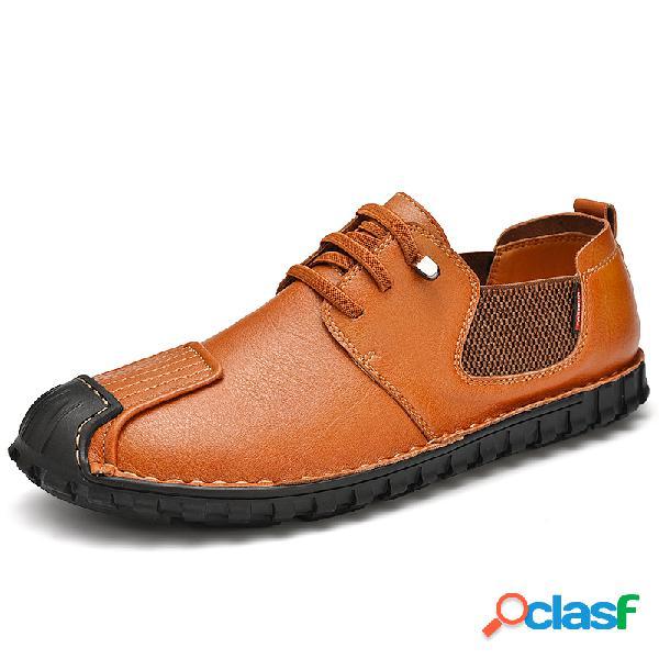 Hombres paneles elásticos antideslizantes de cuero de vaca soft zapatos casuales con suela