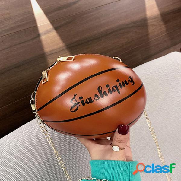 Mujer bandolera de baloncesto con cadena bolsa hombro bolsa