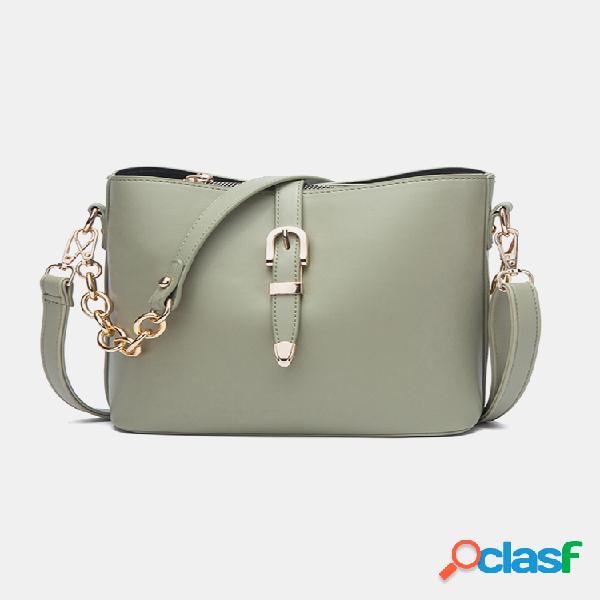 Mujer bandolera sólida de cadena bolsa hombro bolsa cubo bolsa