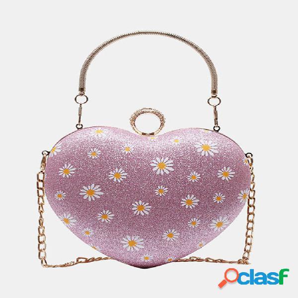 Mujer cadena de acrílico daisy corazón bandolera bolsa hombro bolsa bolso satchel bolsa
