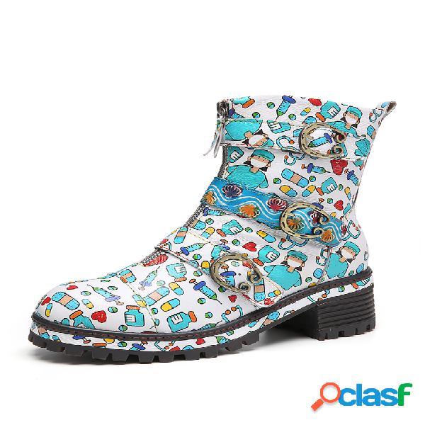 Socofy printing patrón cuero triple hebilla correa decoración cremallera lateral corto botas