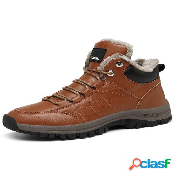 Hombre cómodo cuero de microfibra suela cálida para vestir al aire libre senderismo deportivo botas