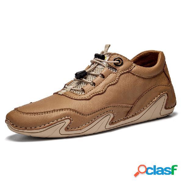 Menico cuero cómodo hecho a mano para hombre soft zapatos planos casuales con costura a mano con suela