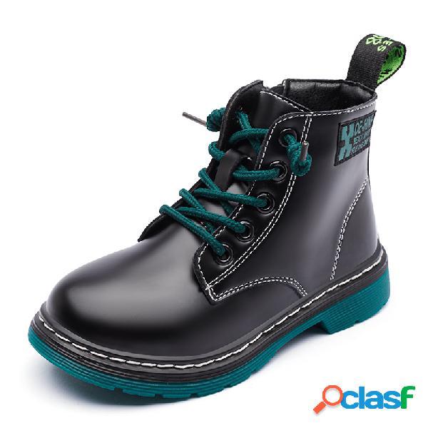 Cuero de microfibra para niñas impermeable soft tobillo ligero cálido informal con herramientas botas