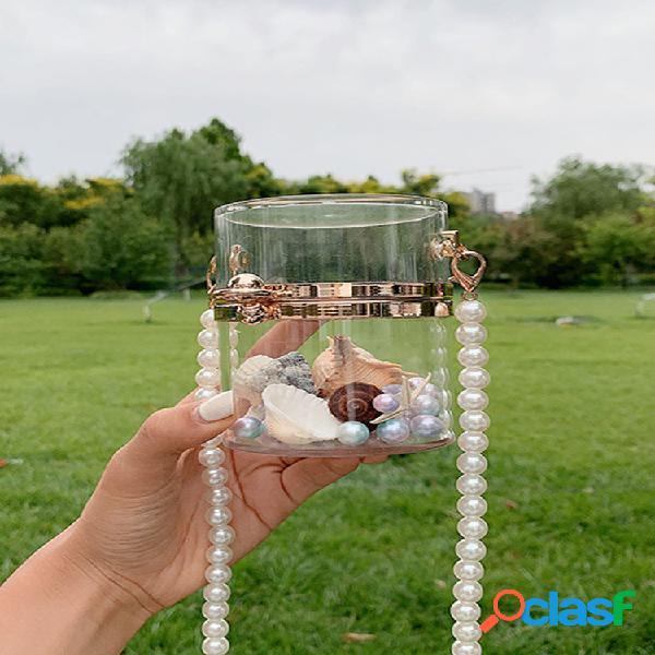 Mujer cadena de perlas mini cubo de gelatina transparente bolsa crossbody bolsa