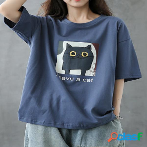 Cartoon gato camiseta estampada de media manga con cuello redondo para mujer