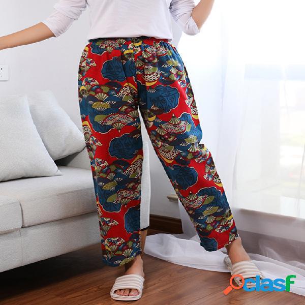 Mujer cintura elástica acogedora de algodón con estampado floral pantalones