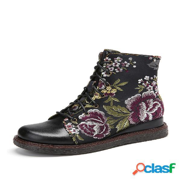 Socofy elegante bordado de flores piel genuina cremallera cómodo tobillo casaul portátil botas