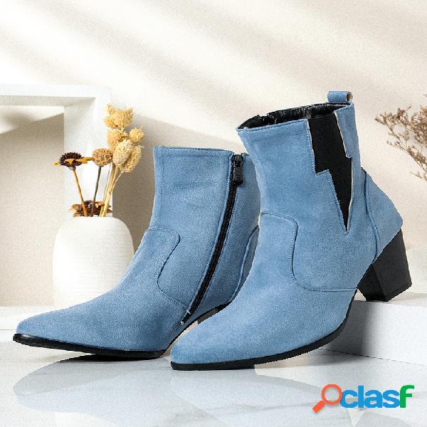 Plus talla mujer casual color sólido simple punta puntiaguda cremallera tacón grueso chelsea botas