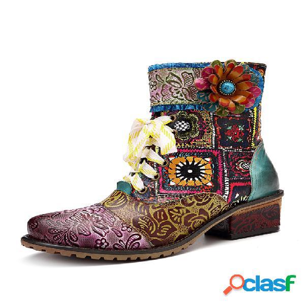 Socofy cowgirl casual piel genuina cremallera de empalme floral tacón cuadrado tobillo botas