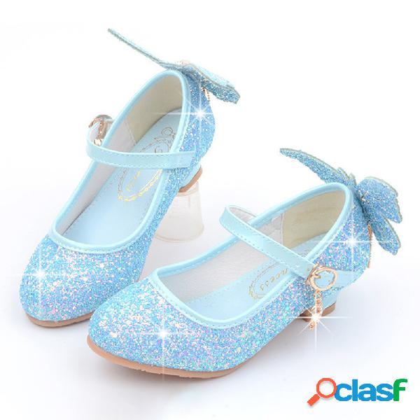 Mariposa brillante con lentejuelas para niñas patrón zapatos de tacón de princesa gatita