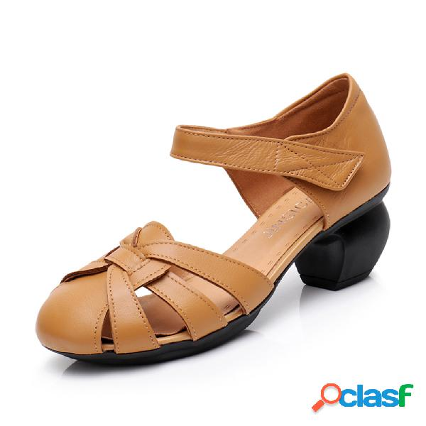 Mujer piel punta cerrada gancho zapatos de tacón bajo con lazo