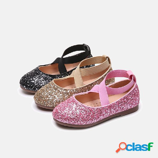 Zapatillas planas con lentejuelas vamp elásticas banda princesa shining dancing para niñas