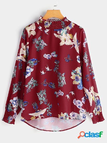 Camiseta manga larga con estampado floral y diseño plisado borgoña con estampado floral de perkins