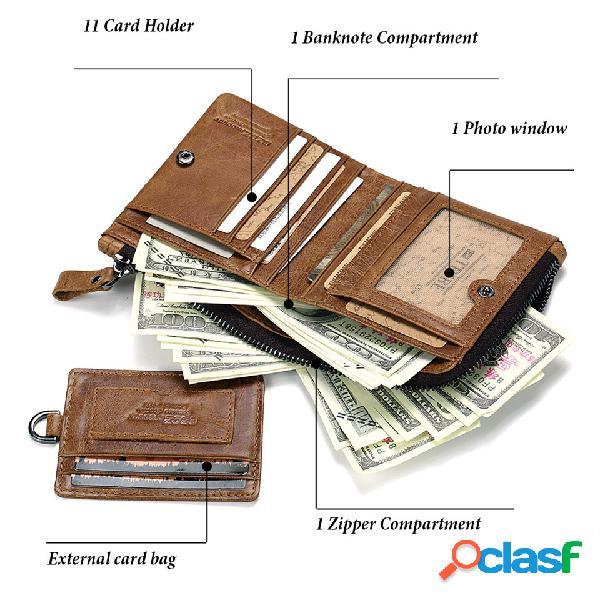 Hombres vendimia piel genuina cremallera 11 ranuras de tarjeta móvil titular de la tarjeta