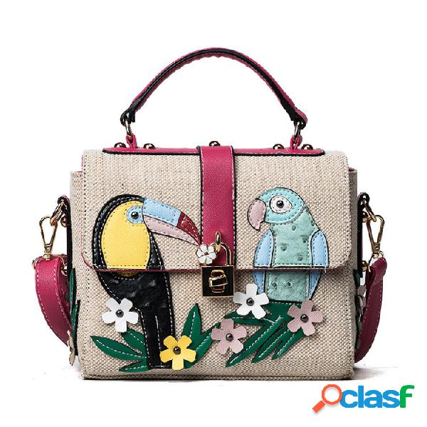 Mujer cartoon weave flap shoulder bolsa crossbody bolsa viajes de compras bolsa