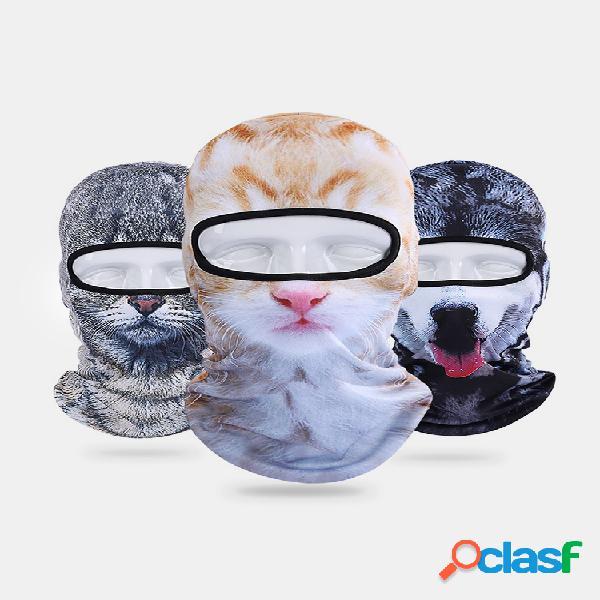 3d gato tigre animal transpirable bicicleta de cara completa mascara sombreros al aire libre sombrilla sombrero cálido para hombres mujer