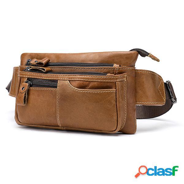 Hombres piel genuina cremallera cintura casual bolsa